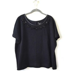 Lane Bryant Black Textured top with black beads
